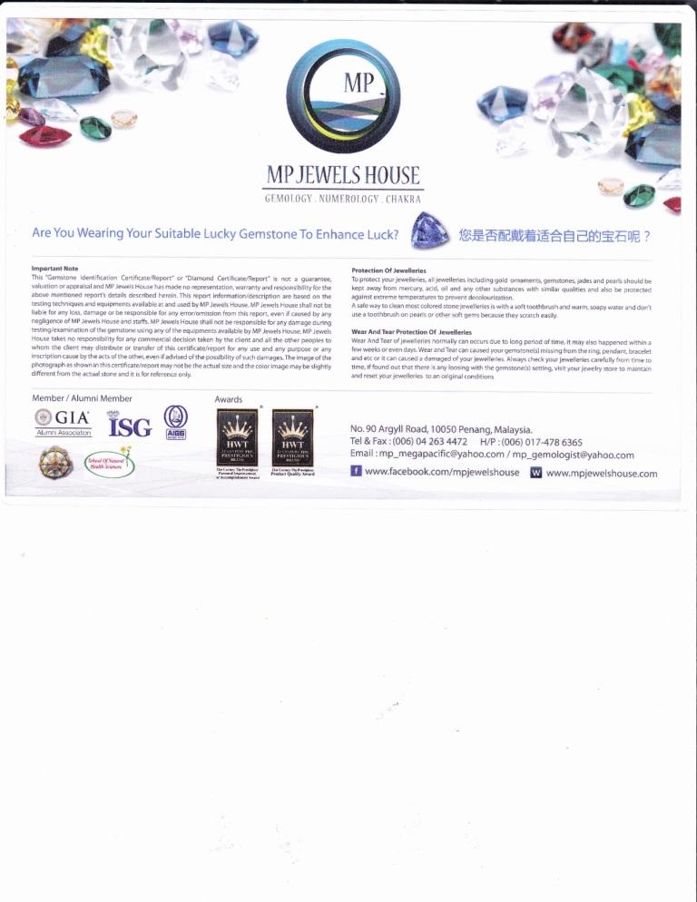 Mini Gemstone Certificate(Back Page)